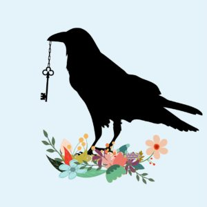 Crow with key in its mouth stands on a collection of beautiful flowers (Spiritual Self-Care)
