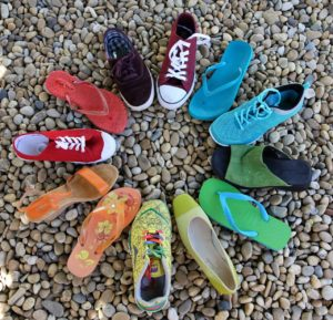 circle of different shoes in various colors, but of the same size (diversity)