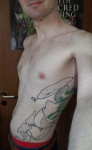 a tattoo on Gwydion's left body side showing a serpent and ivy leaves.