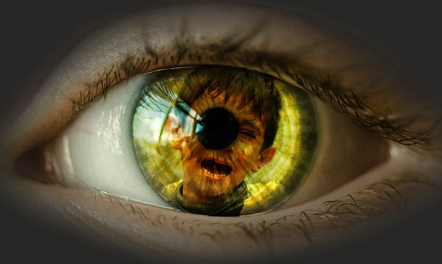 a child screaming in pain within the pupil of a person (inner child work)