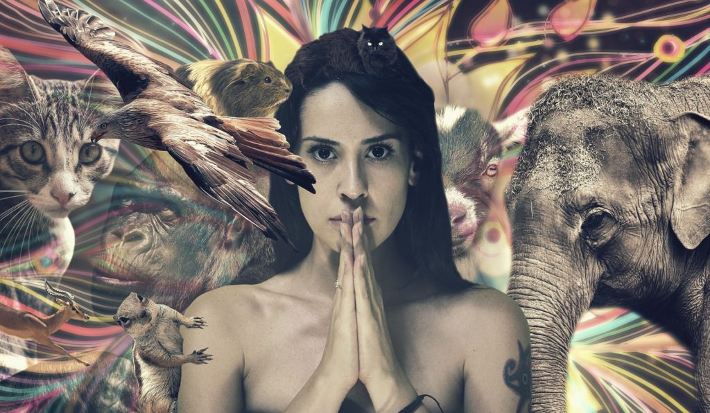 Women intersecting with all kinds of animals in true Unity Consciousness (interconnectedness)