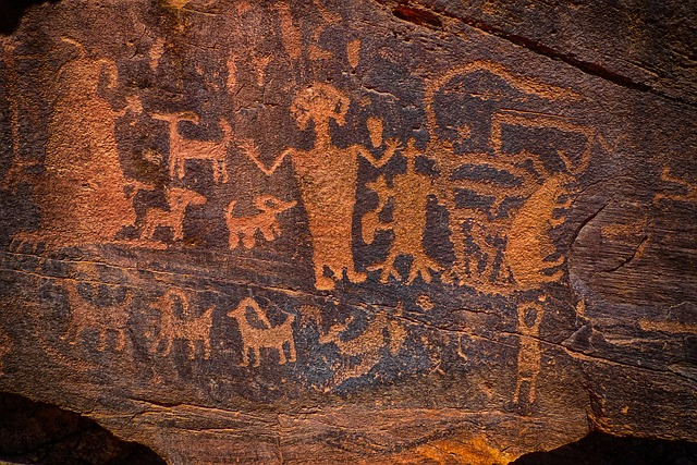 Prehistoric cave wall art before the beginnings of civilization