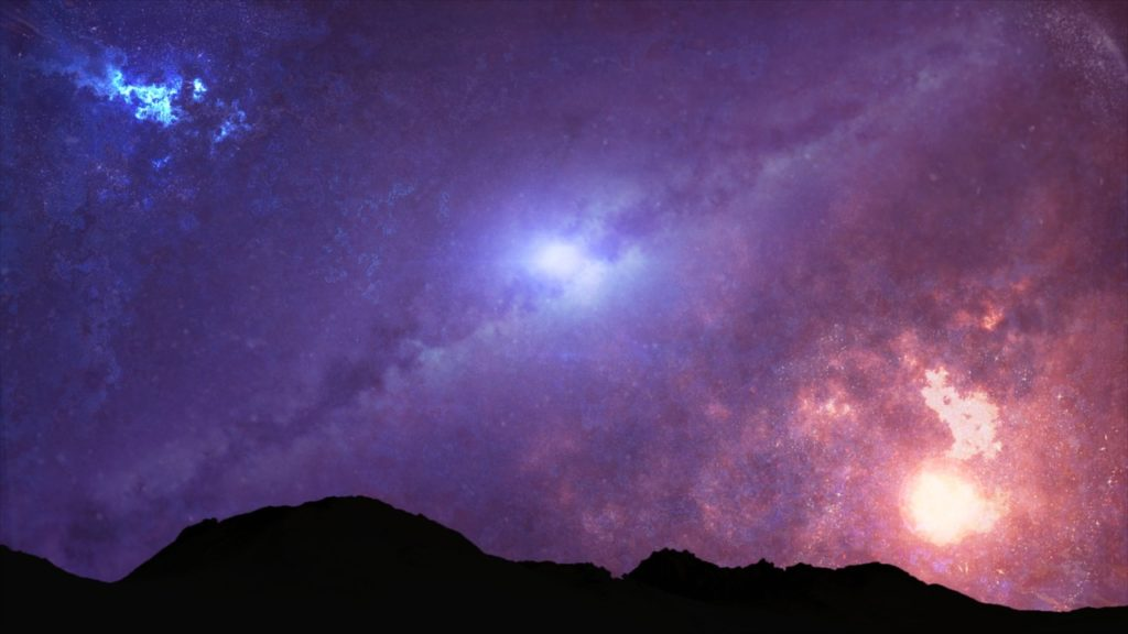 a starry night sky filled with galaxies - and extraterrestrials?
